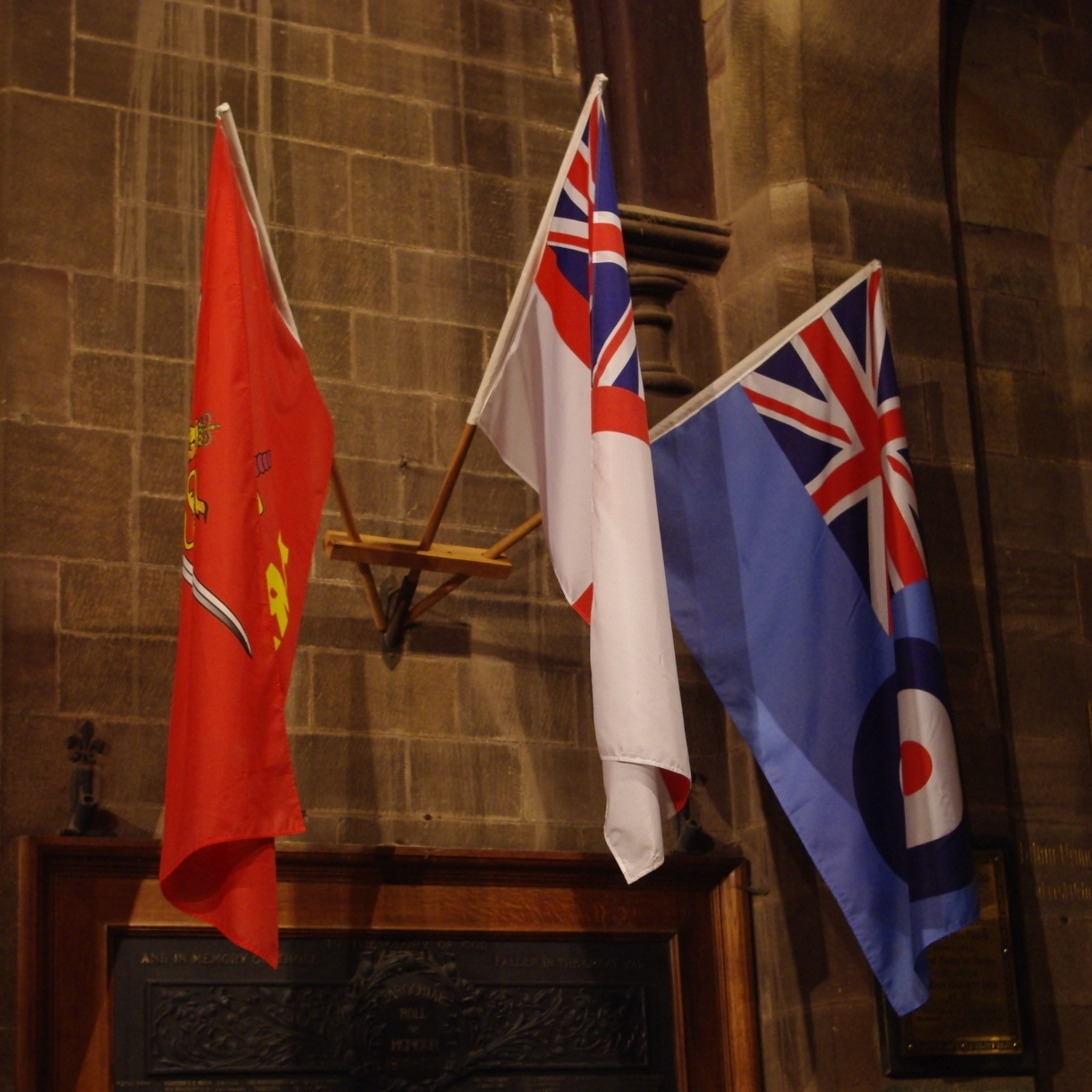 Flags Above Roll of Honour
