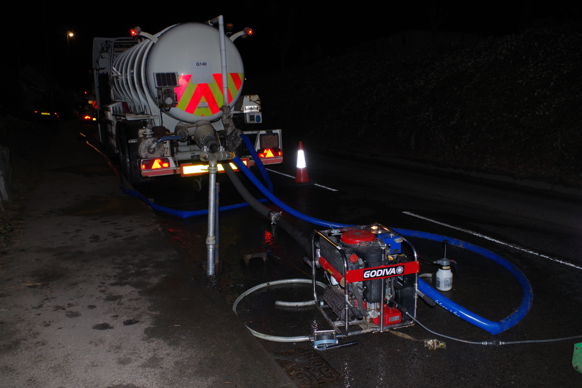 Water Tanker at Night