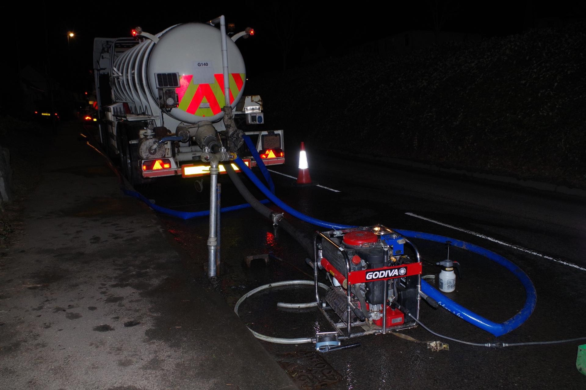 Water Tanker at Night